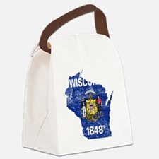 Wisconsin Flag Map Canvas Lunch Bag