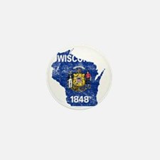 Wisconsin Flag Map Mini Button