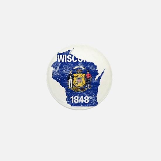 Wisconsin Flag Map Mini Button