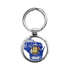 Wisconsin Flag Map Round Keychain