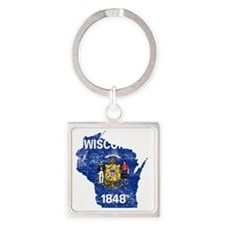 Wisconsin Flag Map Square Keychain