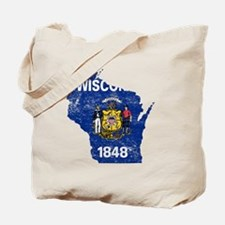 Wisconsin Flag Map Tote Bag