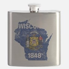 Wisconsin Flag Map Flask