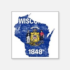"Wisconsin Flag Map Square Sticker 3"" x 3"""