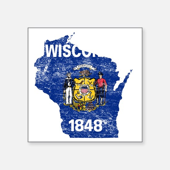 """Wisconsin Flag Map Square Sticker 3"""" x 3"""""""