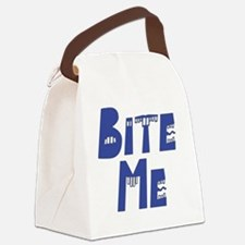 Bite Me blue Canvas Lunch Bag