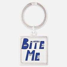 Bite Me blue Square Keychain