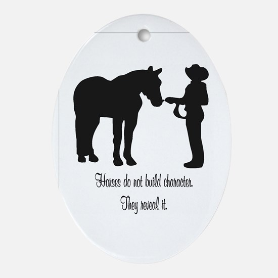 Horses build Oval Ornament