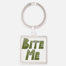 Bite Me green Square Keychain