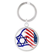 Stand With Israel Trans Round Keychain