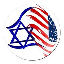 Stand With Israel Trans Round Car Magnet