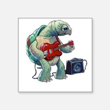 "Turtle Tuning Guitar Square Sticker 3"" x 3"""