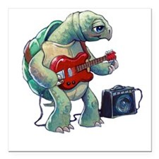 "Turtle Tuning Guitar Square Car Magnet 3"" x 3"""