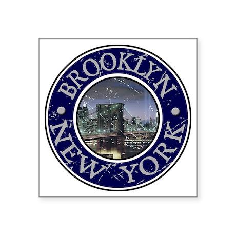 """Brooklyn_Button2 Square Sticker 3"""" x 3"""""""