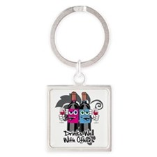 Drinks-Well-With-Others-blk Square Keychain