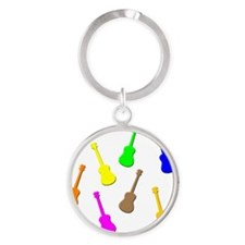 rainbow ukulele Round Keychain