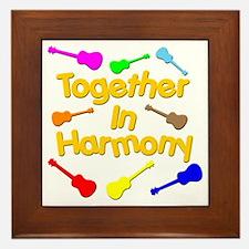 rainbow ukulele ukes Framed Tile