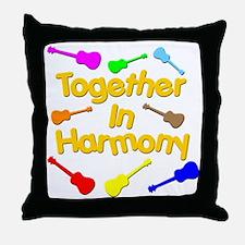 rainbow ukulele ukes Throw Pillow