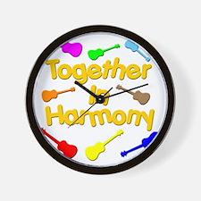 rainbow ukulele ukes Wall Clock