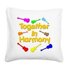 rainbow ukulele ukes Square Canvas Pillow