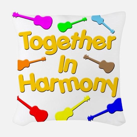 rainbow ukulele ukes Woven Throw Pillow