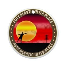 june11_putt_plastic_red_sun Round Ornament