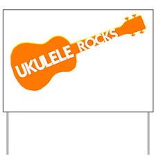 orange ukulele rocks Yard Sign
