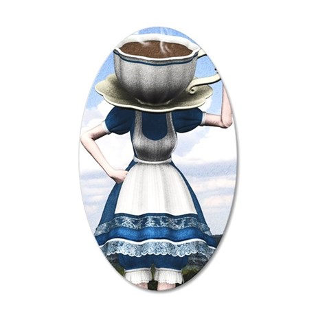 Tea With Alice 35x21 Oval Wall Decal