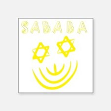 """White and Yellow Sababa fac Square Sticker 3"""" x 3"""""""