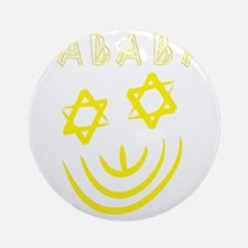 White and Yellow Sababa face for da Round Ornament