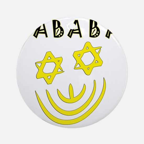Yellow and Black Sababa Face Round Ornament