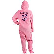 Blue Black Sababa Face Footed Pajamas