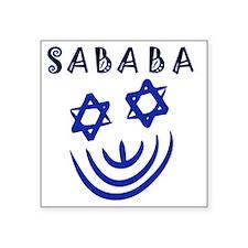 "Blue Black Sababa Face Square Sticker 3"" x 3"""