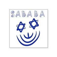 """Blue White Sababa Face Square Sticker 3"""" x 3"""""""