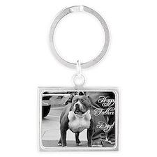 Fathers day pitbull Landscape Keychain