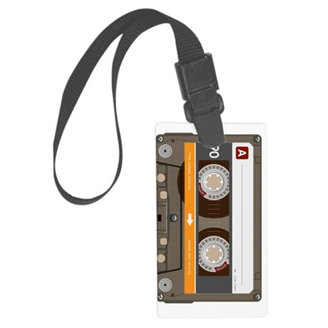 cassette tape vertical Large Luggage Tag