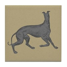 Greyhound Frolic Tan Tile Coaster