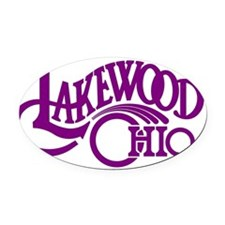 lakewood_logo_purple_on_white_larg Oval Car Magnet