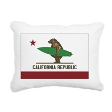 California Surfing Bear  Rectangular Canvas Pillow