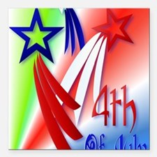 "Three Star 4th PosterP Square Car Magnet 3"" x 3"""