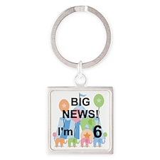 Big News Circus 6th Birthday Square Keychain
