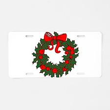 Christmas Wreath Aluminum License Plate
