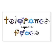 Tolerance = Peace Rectangle Stickers