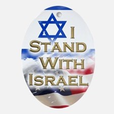 I stand with Israel 001 Oval Ornament