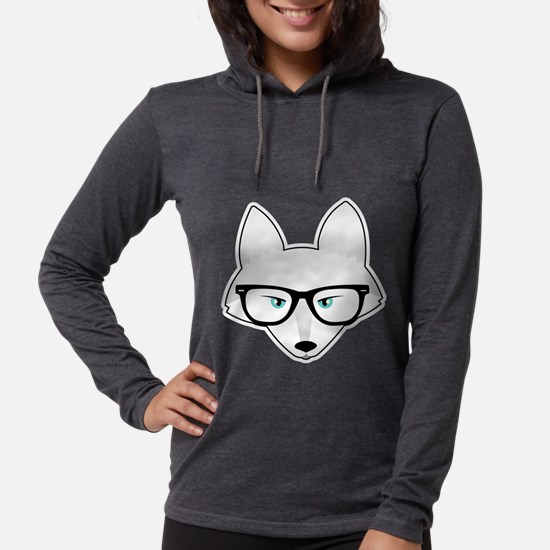 Cute Arctic Fox with Glasses Long Sleeve T-Shirt