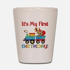first birthday train Shot Glass