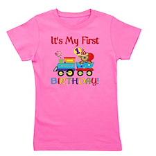 first birthday train Girl's Tee