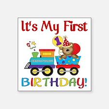 "first birthday train Square Sticker 3"" x 3"""