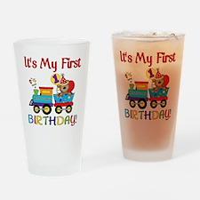 first birthday train Drinking Glass