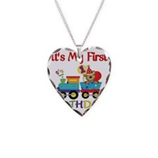 first birthday train Necklace Heart Charm